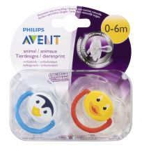Avent Soothers 0-6 Months Animal Design 2 Pack