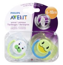 Avent Soothers 6-18 Months Animal Design 2 Pack