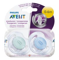 Avent Soothers 0-6 Months Transparent Design 2 Pack