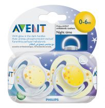 Avent Soothers 0-6 Months Night Time 2 Pack