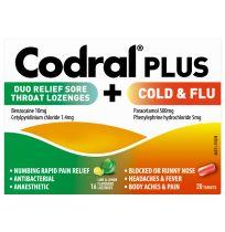 Codral Plus Lozenge 16 Pack + PE Cold & Flu 20 Tablets