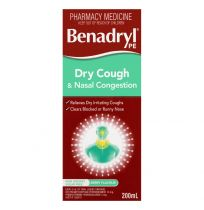Benadryl PE Cough Liquid Dry Cough & Nasal Decongestant 200ml