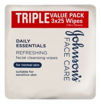 Johnson's Daily Essentials Cleansing Wipes Normal Skin 25 Wipes 3 Pack