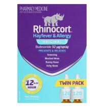 Rhinocort 32mcg Nasal Spray 120 dose x 2 Pack