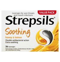 Strepsils Sore Throat Lozenges Honey & Lemon 36 Pack
