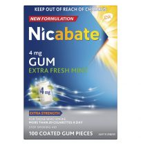 Nicabate Gum 4mg Extra Fresh Mint 100 Pack