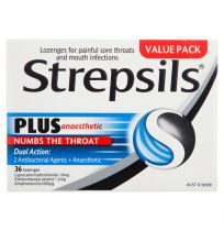 Strepsils Plus Anaesthetic Sore Throat Lozenges 36 Pack