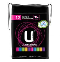 U By Kotex Ultrathin Super Rads with Wings 12 Pack