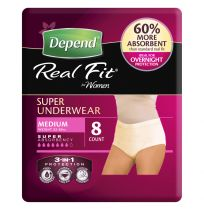 Depend Real Fit for Womens Super Underwear Medium 8 Pack