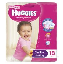 Huggies Convenience Nappy Toddler Girl 18 Pack