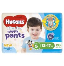 Huggies Ultra Dry Nappy Pants Boys Size 5 26 Pack
