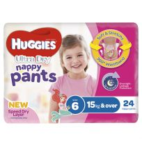 Huggies Ultra Dry Nappy Pants Girls Size 6 24 Pack