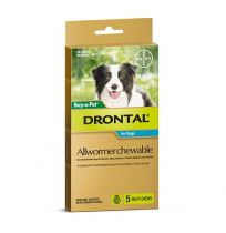 Drontal Allwormer Chewable for Dogs 10kg 5 Tablets