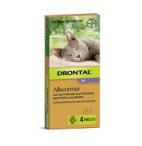 Drontal Allwormer For Cats and Kittens 4kg 4 Tablets