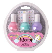 Unicorn Nail Kit 3 Piece With Pastel Stickers Gift Set