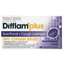 Difflam Plus Sore Throat + Dry Cough Relief Lozenges Blackcurrant 24 Pack