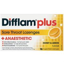 Difflam Plus Anaesthetic Sore Throat Lozenges Honey & Lemon 16 Pack