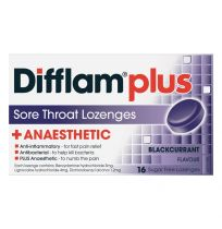 Difflam Plus Anaesthetic Sore Throat Lozenges Blackcurrant 16 Pack