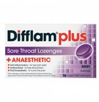 Difflam Plus Anaesthetic Sore Throat Lozenges Berry 16 Pack