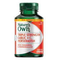 Nature's Own Triple Strength Garlic + C, Horseradish 100 Tablets