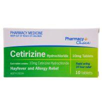 Pharmacy Choice Cetirizine Hayfever Relief 10 Tablets