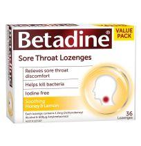 Betadine Antiseptic Sore Throat Lozenges Honey & Lemon 36 Pack
