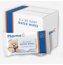 Pharma C Essentials Baby Water Wipes 6 x 80 Pack
