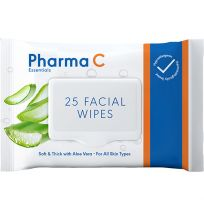 Pharma C Essentials Face Wipes Cleansing Aloe Vera 25 Pack