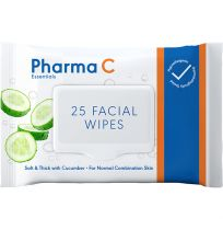 Pharma C Essentials Face Wipes Gentle Cucumber 25 Pack