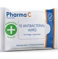 Pharma C Essentials Antibacterial Wipes 15 Pack
