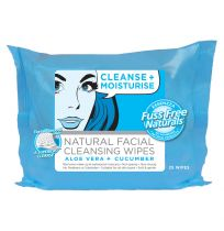Essenzza Fuss Free Facial Wipes Cleanse & Moisturise 25 Pack